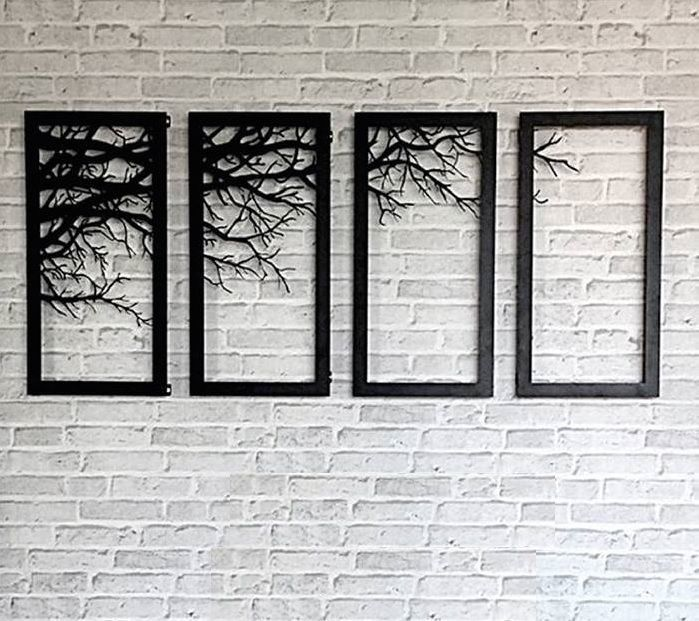 Tree Branch Framed Wall Decor Laser Cutting Metal Art Home Bed Room Modern