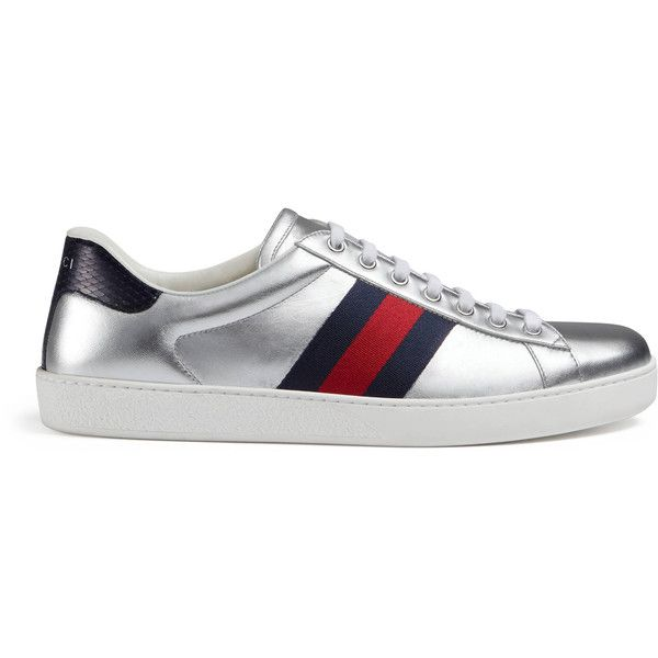 730347e7776 Gucci Ace Metallic Leather Sneaker ( 650) ❤ liked on Polyvore featuring  men s fashion