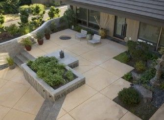 Stained And Scored Concrete Patio Ideas