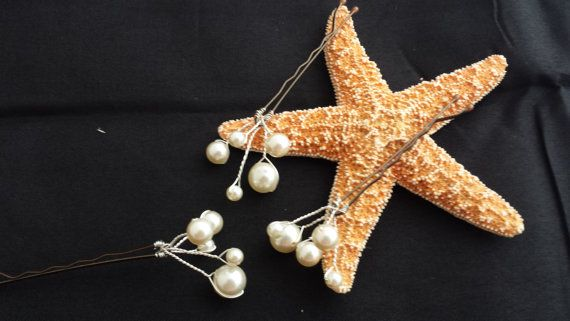 3 Cream Pearl Hairpins  - Wedding Hair Accessory, Bride or Wedding Party, Beach Wedding, Updo