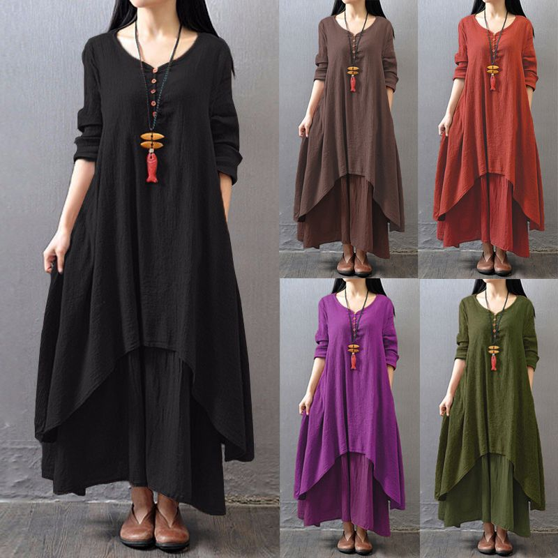 953324acb1 Aliexpress.com : Buy Hot 2017 Women Casual Loose Long Sleeve V Neck Dress  Fashion Autumn Cotton Linen Boho Solid Long Maxi Dress Vestidos Plus Size  from ...