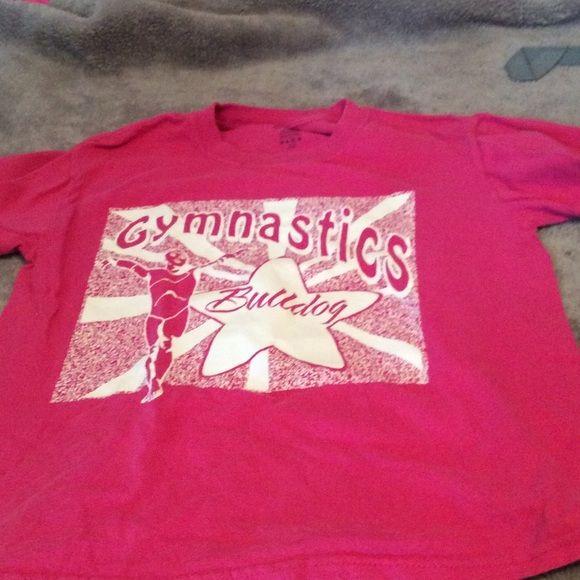 Gymnastics Bulldog t-shirt white and pink, gymnast on it, Bulldogs gymnastics Tops Tees - Short Sleeve