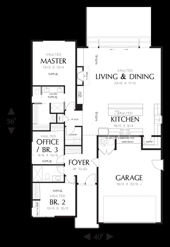 main floor plan of mascord plan 1164es - the park place - narrow