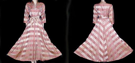 Vintage 1930s - 1940s Flobert Satin Dressing Gown Rhinestone Buttons ...