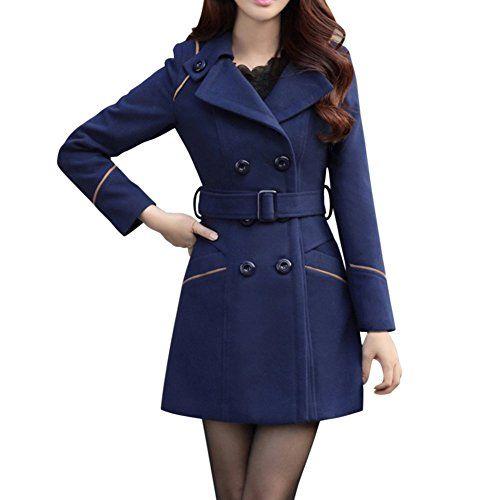 6d03831a05ad Manteaux Femme Hiver Chaud Slim Gilet Bouton Épais Blouson Casual Parkas  Trench Coat Veste Épaise avec Ceinture