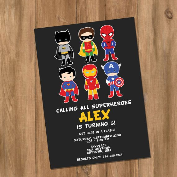 Super Hero Birthday Party Invitation with Photo (Digital - DIY) on Etsy, $10.00
