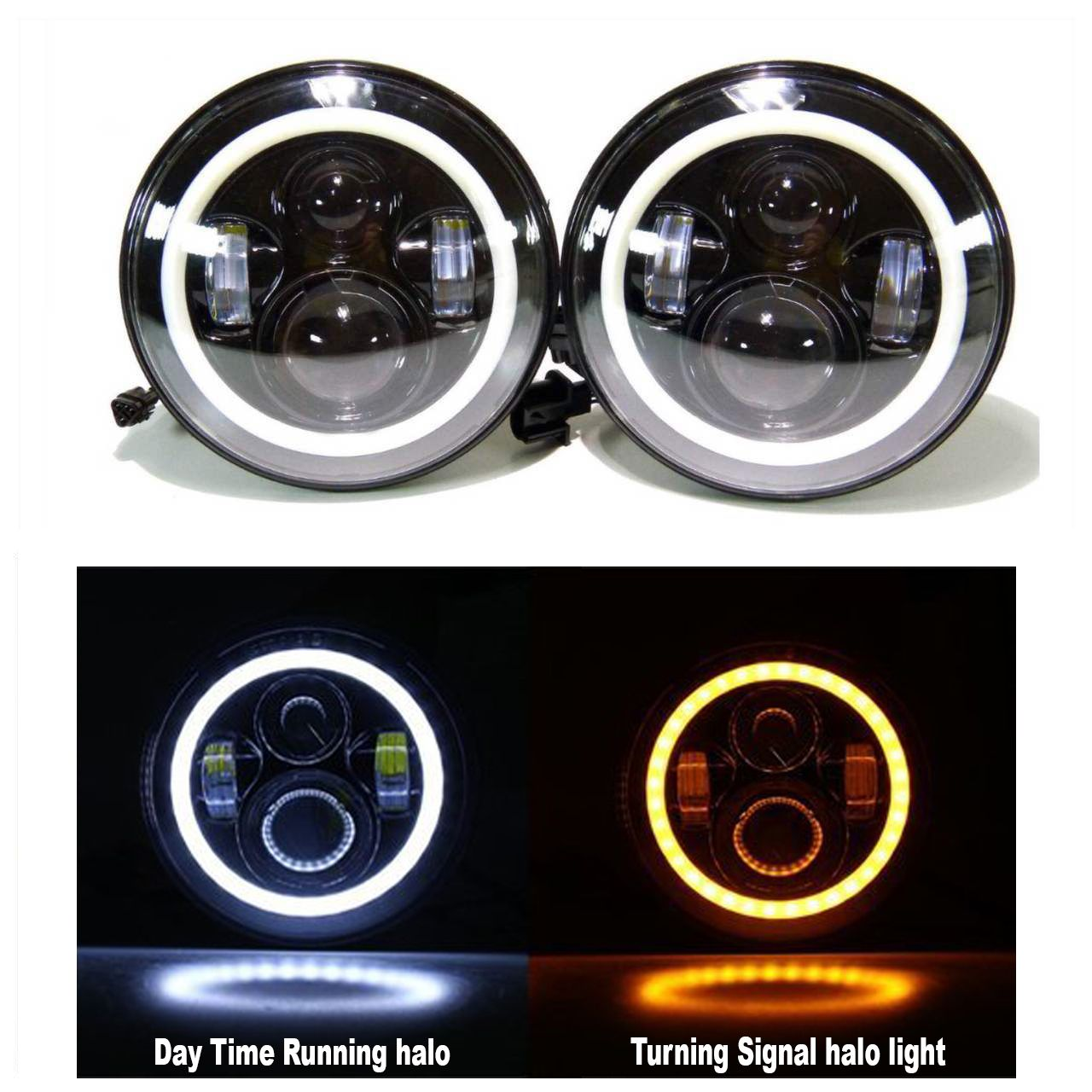 Led Projectors White Halos Jeeps Pinterest Jeep Wrangler Jk Pillar Gauge Pod Halo Headlights With Daytime Running And Amber Turn Signal Function