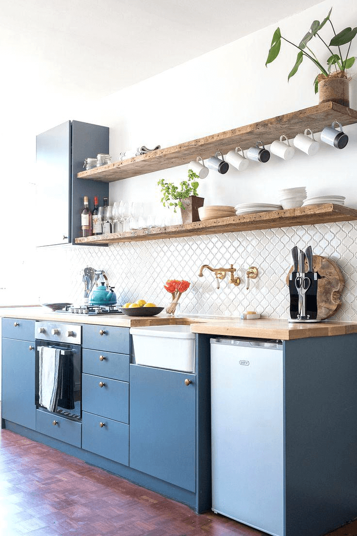Spots To Put Floating Shelves For A Small Kitchen Small Kitchen Guides Kitchen Shelf Inspiration One Wall Kitchen Kitchen Renovation