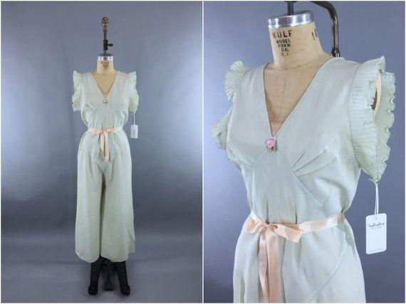 Vintage 1930s Beach Pajamas / 30s Lingerie PJs / Jumpsuit