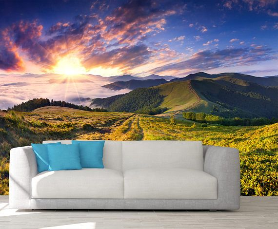 Mountain Wall Covering Sunrise Wall Mural Mountain Design