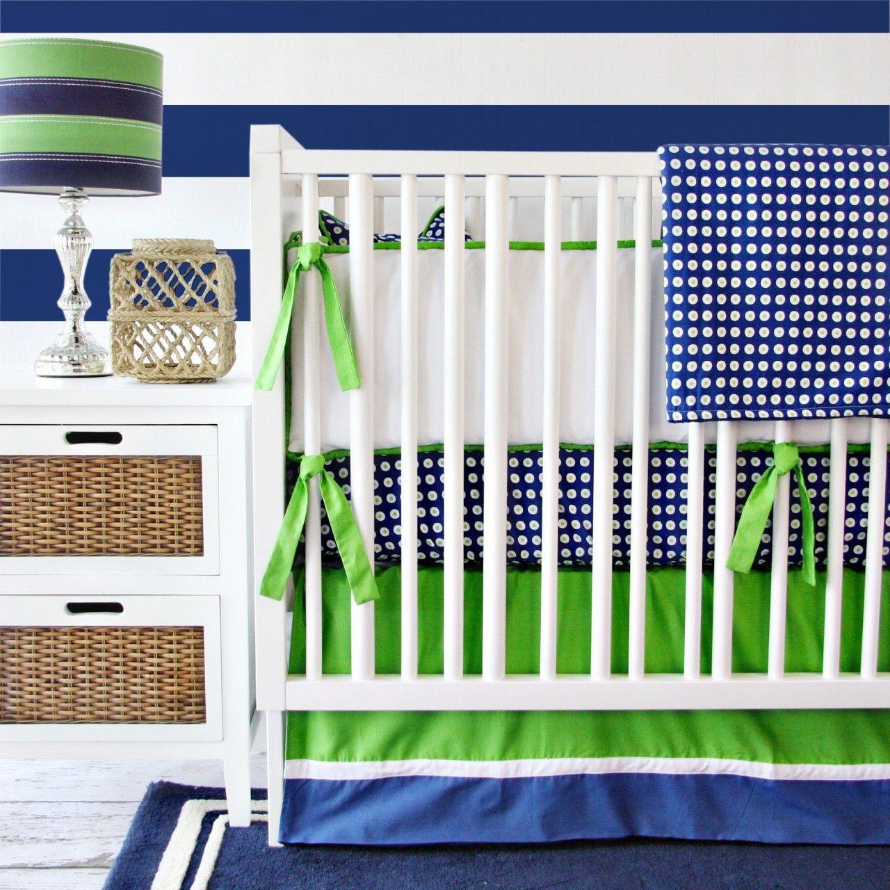 Project Nursery - Azul marinho e verde berço cama Definido pela pista de Caden