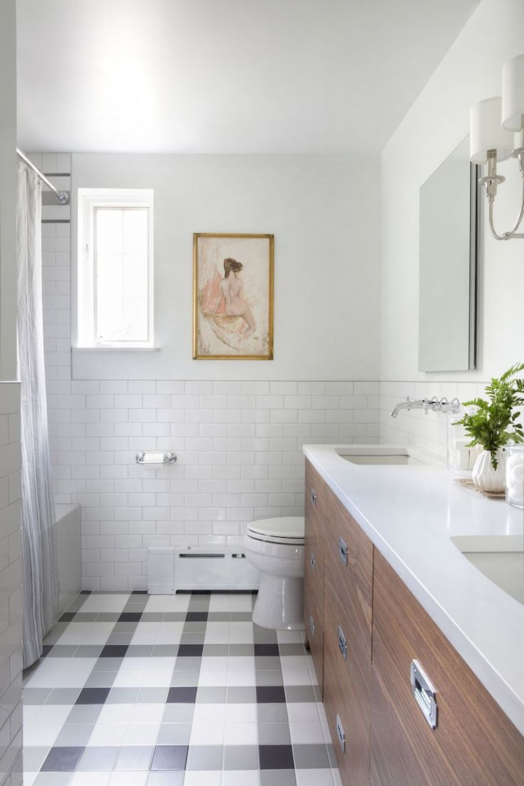 Love this check black white and gray pattern for bathroom tile floor ...
