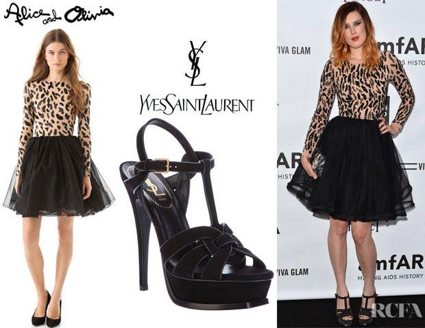 Rumer Willis' Alice + Olivia Bergen Beaded Dress And YSL Tribute Sandals