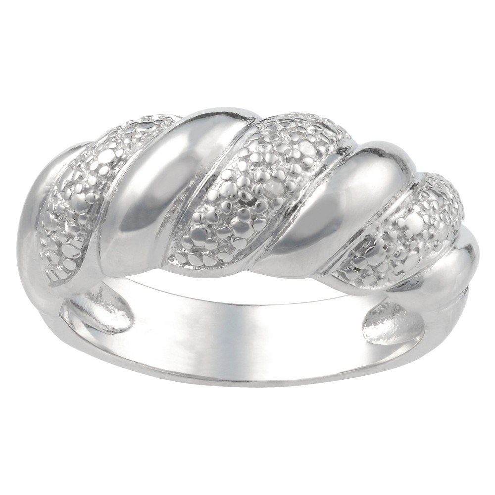 1/10 CT. T.W. Round-Cut Diamond Pave Set Braid Ring in Sterling Silver (J-K-I1-I2) (7), Women's