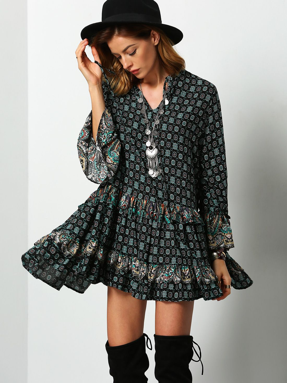Online shopping for Dark Green Tribal Print Ruffle Dress from a great selection of women's fashion clothing & more at MakeMeChic.COM.