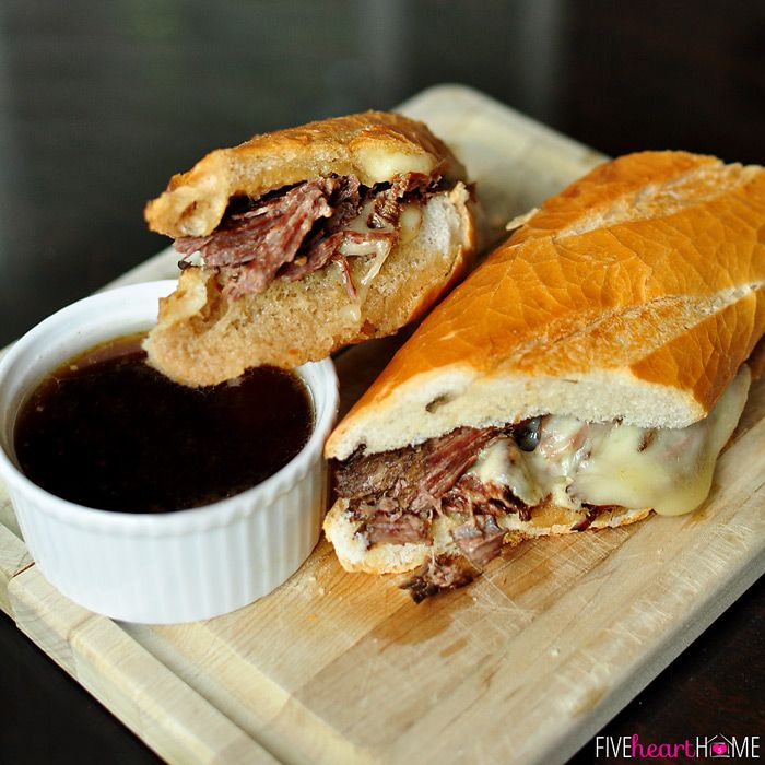 Slow Cooker French Dip - add 1c water & 1 packet au jus to slow cooker & whisk.  Season 2-4lb. bottom round roast or sirloin tip roast with salt, pepper & onion powder.  Brown roast in 1T oil, then add to slow cooker.  Cook on low 8-10 hours.  Make another au jus packet per directions.  Shred meat, discard fat.  Melt cheese on bread in broiler.  Add sautéed mushrooms & onions.