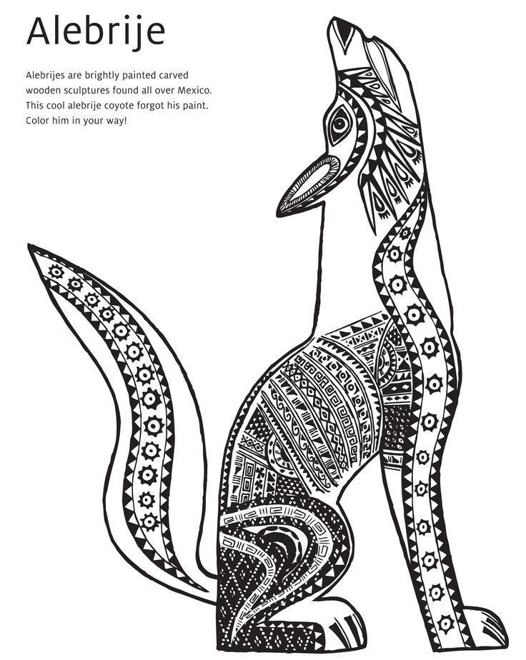 Mexican Folk Art Animal Drawings Alebrije Coyote Coloring Page