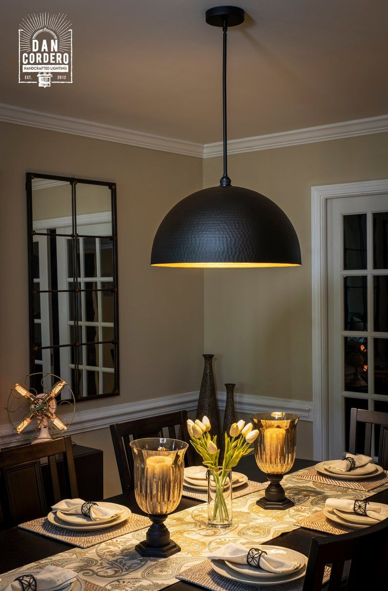 Hammered Flat Black Dome Pendant Light Fixture in 2020