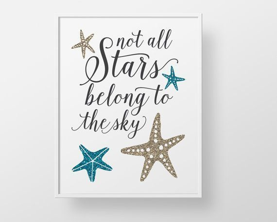 Starfish Ocean Print - quote script teal aqua gold custom color ocean sea nautical stars childrens girls teen bathroom decor wall art glam #mermaidbathroomdecor