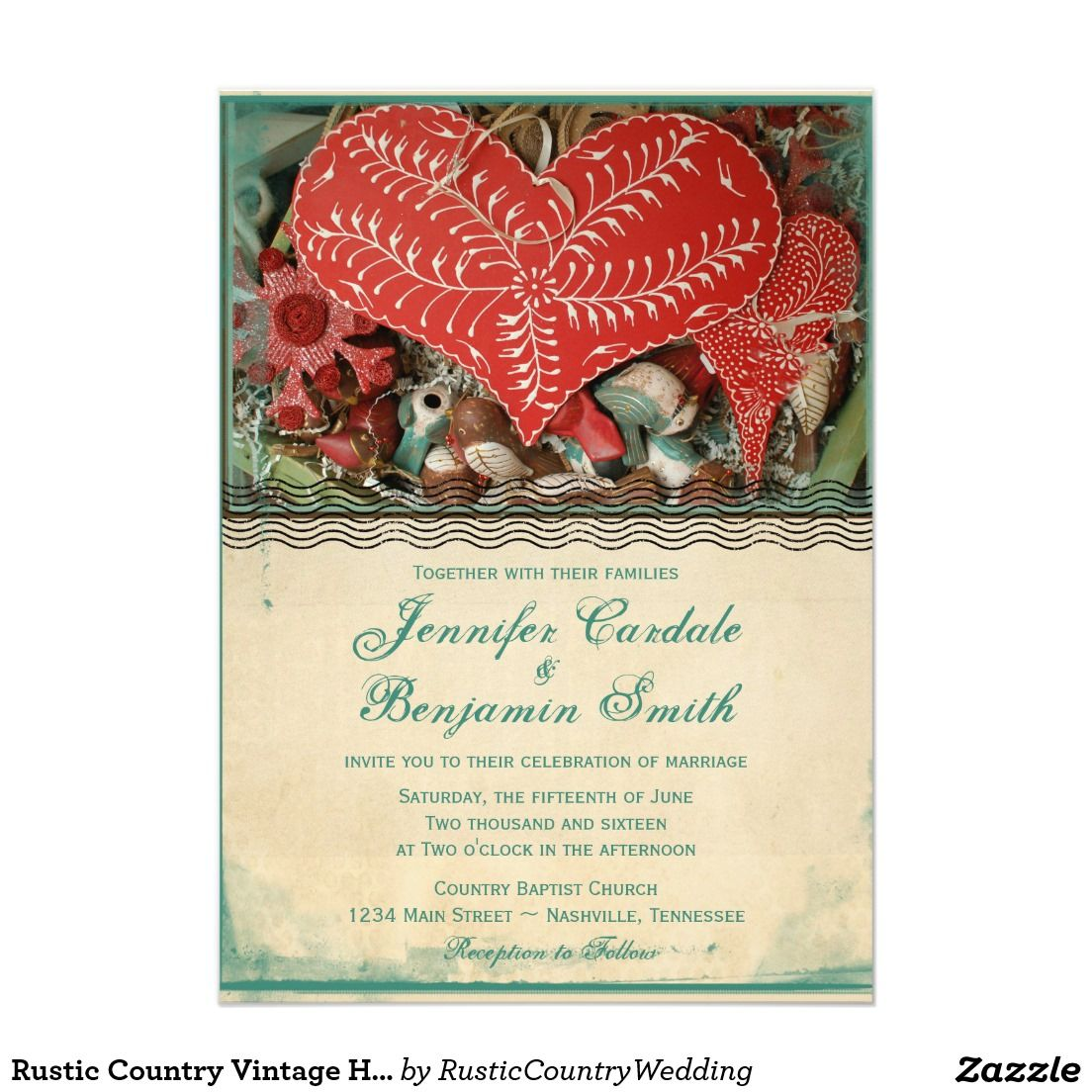 Rustic Country Vintage Heart Wedding Invitations | Heart wedding ...