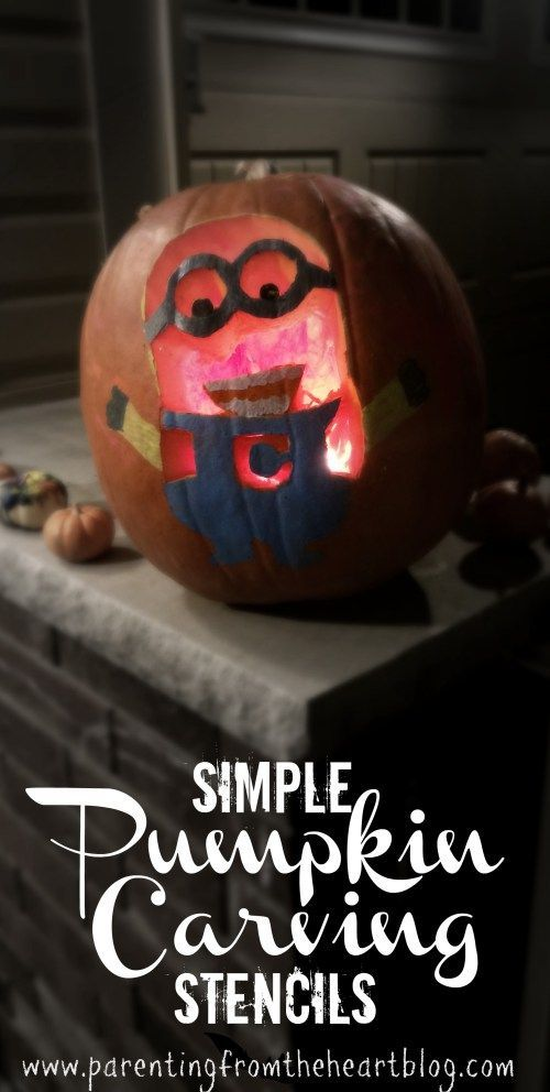 Simple Pumpkin Carving Stencils - Pumpkin carving, Pumpkin carvings stencils, Halloween crafts for kids, Minion pumpkin, Minion pumpkin carving, Pumpkin decorating - Click here to find out how to make these simple pumpkin carving stencils of your kids' favourite characters using stuff you already have at home