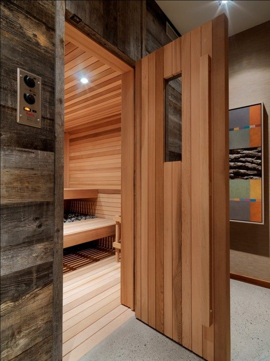 Who would have thought to use barnwood to frame out a sauna ...