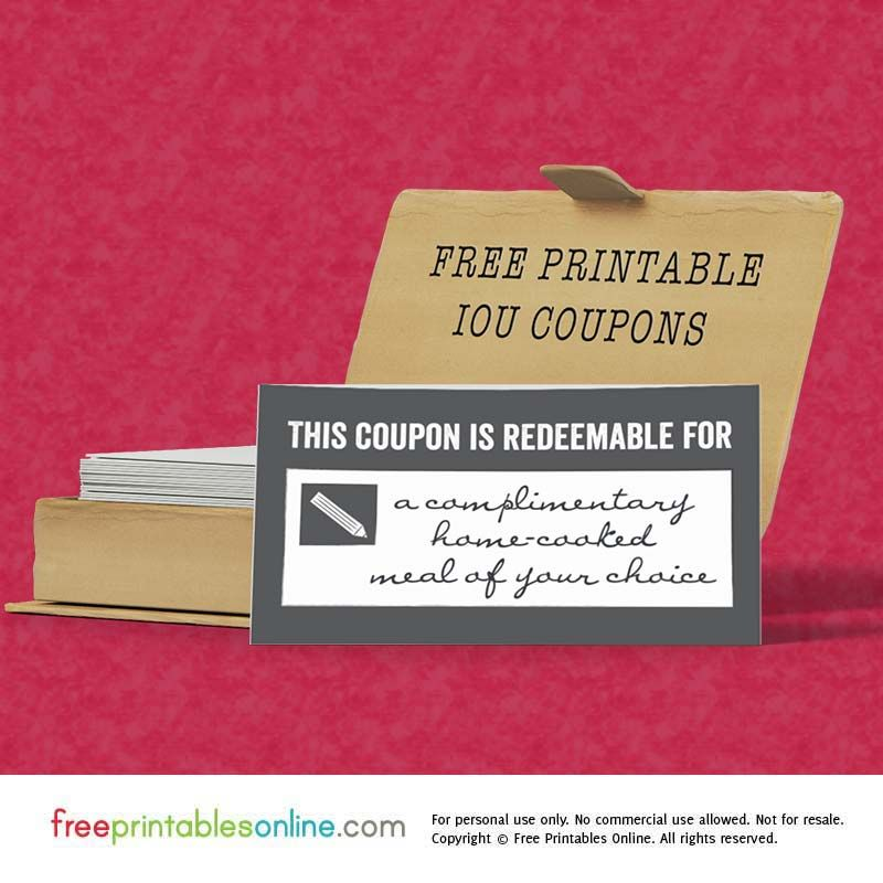 This Free Printable Template Is A Simple IOU Coupon That Reads Redeemable For With Space To Hand Write Your IOUs