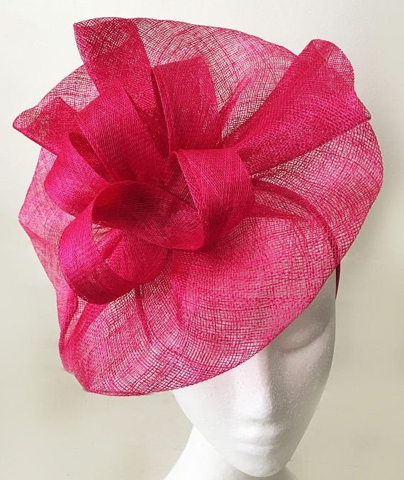 Wedding Hats · TheHeadwearBoutique on Etsy ( 65 USD)- Tia Large Fuschia Pink  Fascinator Bright Pink Kentucky 9c6311f4538