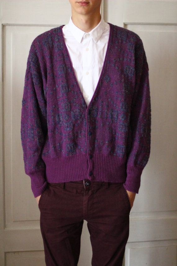Vintage mens sweater, cardigan - Oversized rare material fancy ...