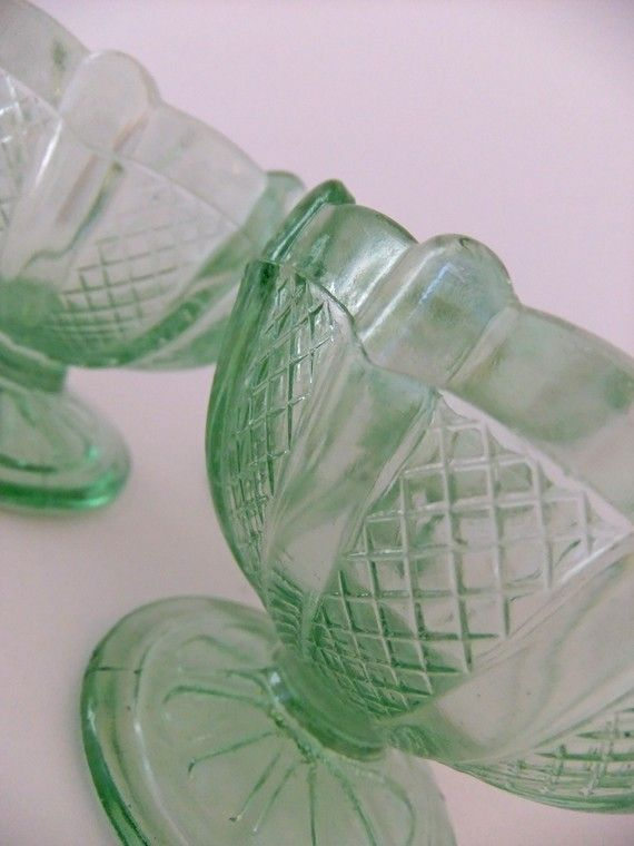 Retro Sundae Dishes 1950s Green Glass How Much Fun To