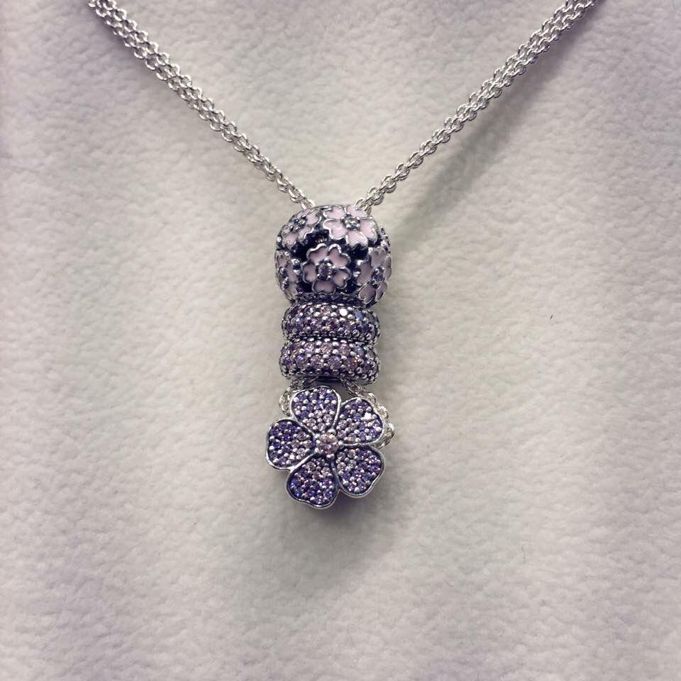 Pandora Necklace With Pave Charms Pandora Pandora