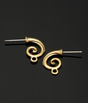 Cast Open Spiral Earpost Antique Gold 14mm