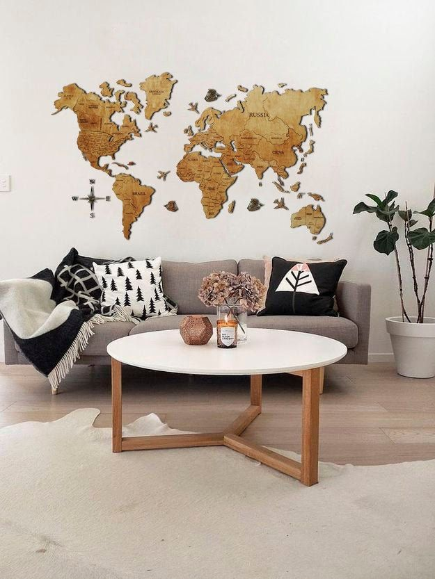 World Map Home Decor Wall Map Christmas 5th Anniversary Gift for Husband Wife Rustic Home Wood World Map Wall Decor Travel Map Wood Wall Art