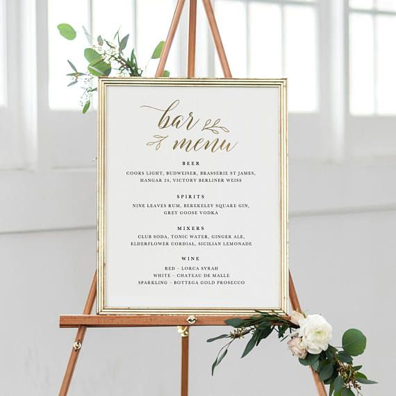 Wedding Bar Menu Template Drink Sign Printable Bar Menu Quince - bar menu template
