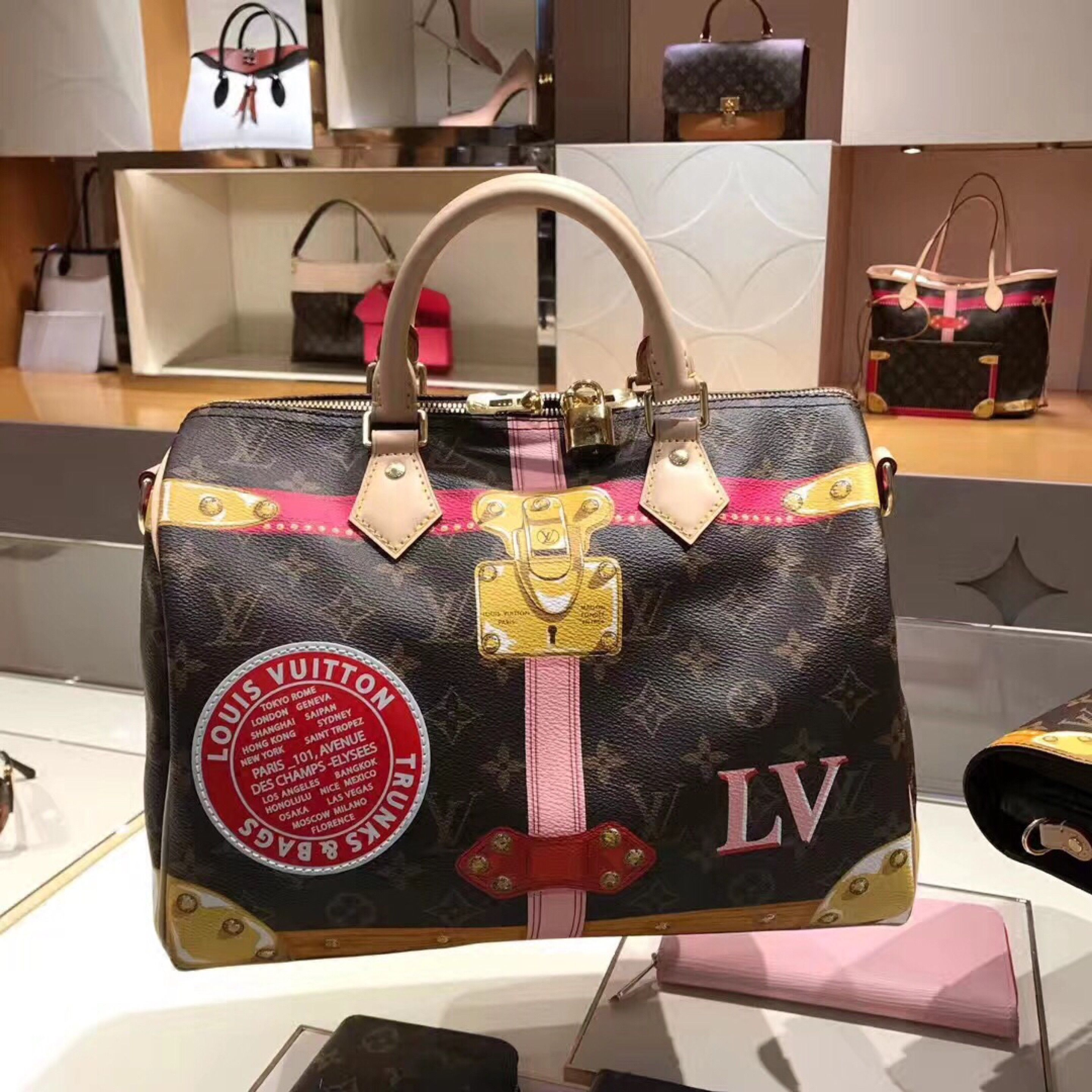 5ba1c1a0ff87 Louis Vuitton Print Trunk Speedy 30 City Bag M43628