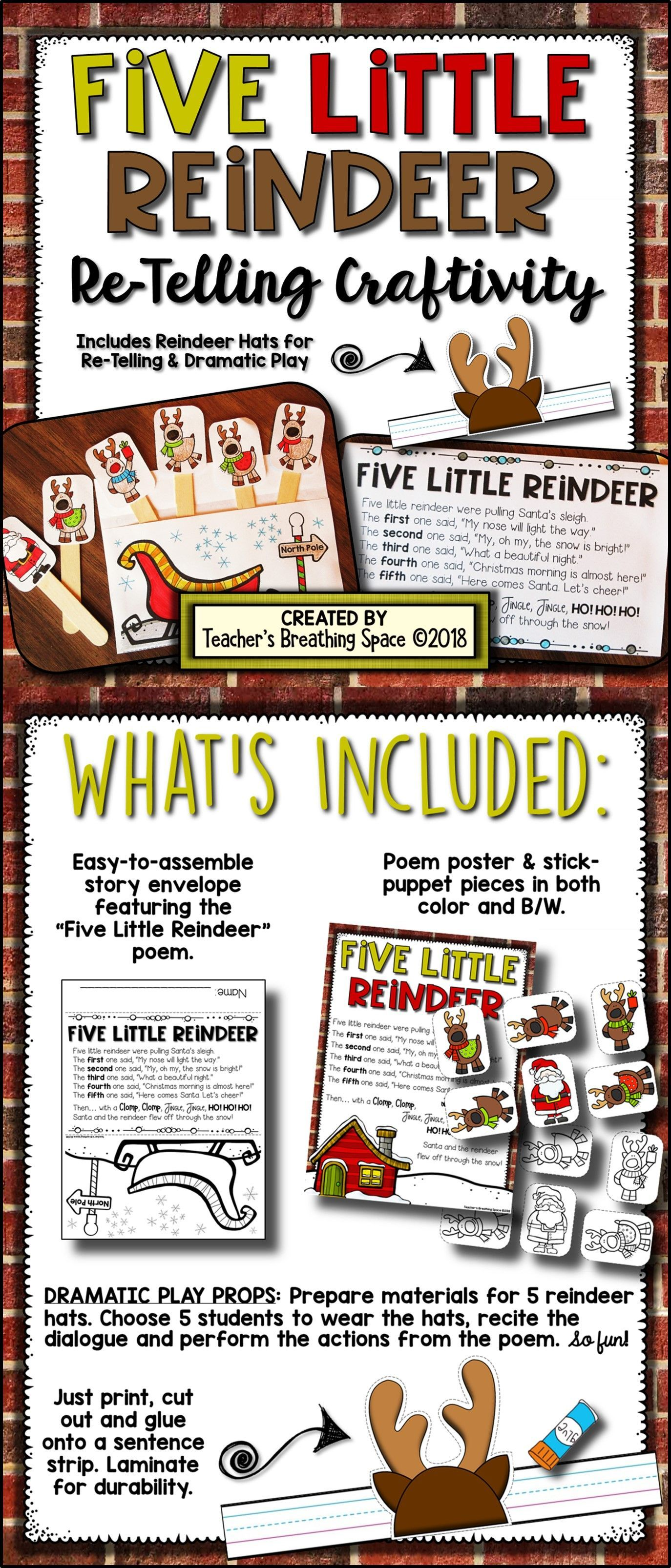Five Little Reindeer Re Telling Craftivity With