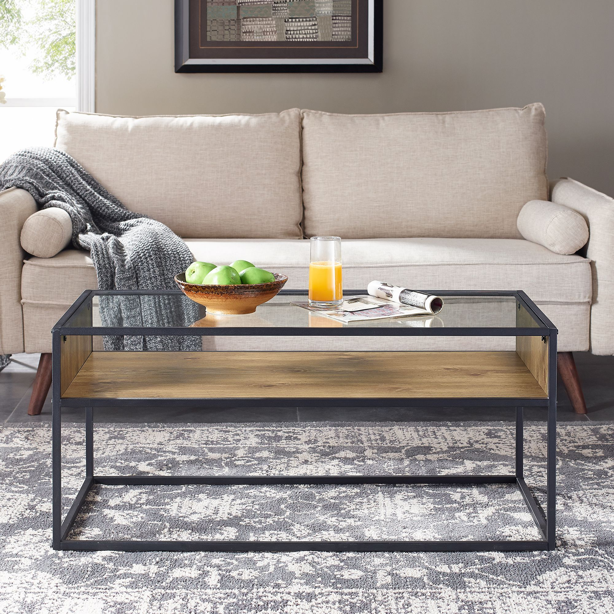 Mainstays Atmore Industrial Glass And Wood Coffee Table Walmart Com Coffee Table Cube Coffee Table Coffee Table Wood [ 2000 x 2000 Pixel ]