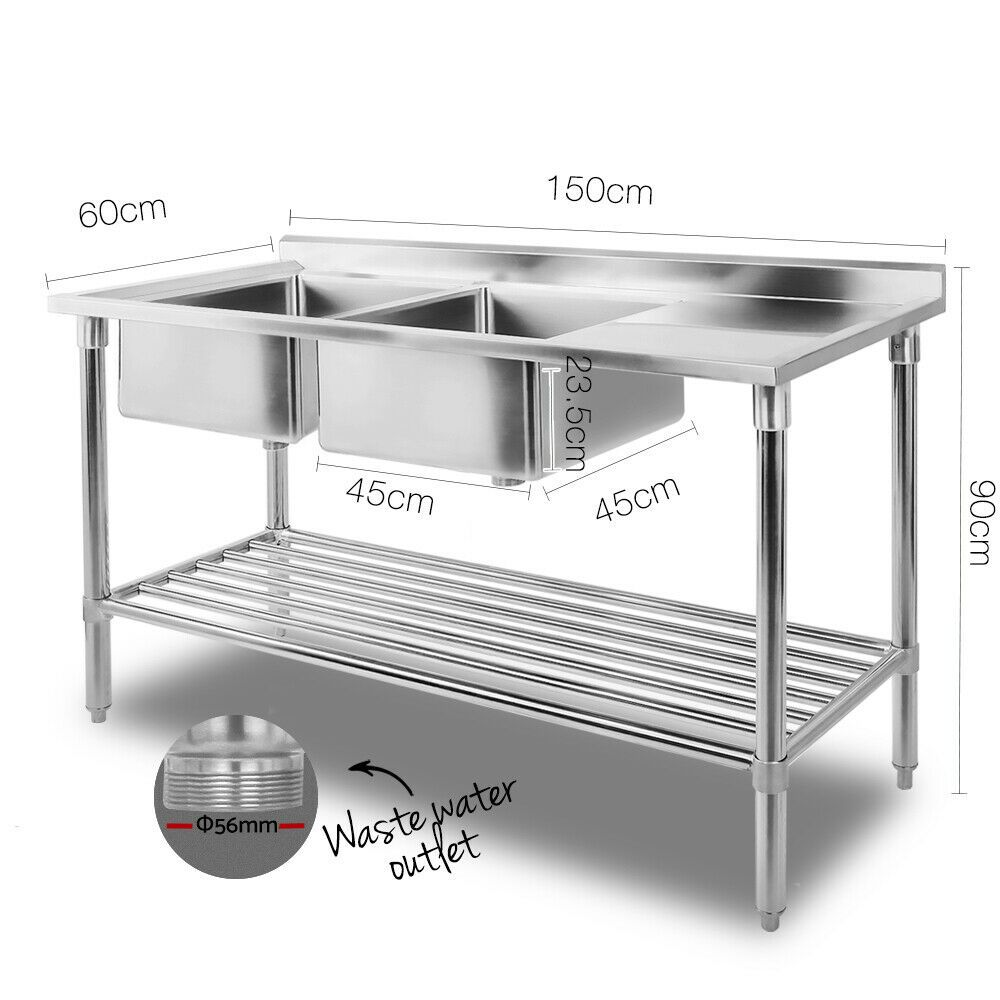 Commercial Double Stainless Steel Sink Kitchen Chef Work Food Prep Bench Shelf Commercial Kitchen Design Kitchen Work Bench Commercial Kitchen Equipment Stainless steel kitchen workbench