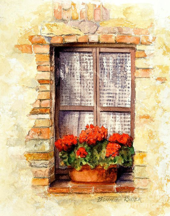 Bonnie Rinier Watercolor Window Art Window Painting Watercolor