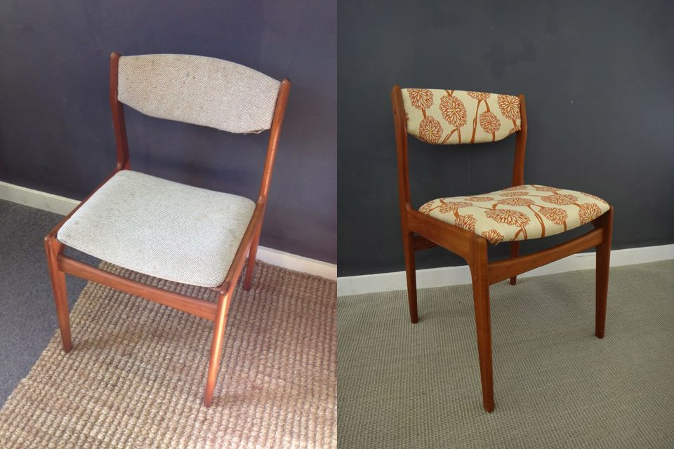 Reupholstered Teak Dining Chairs Retrocraft Before After In 2019