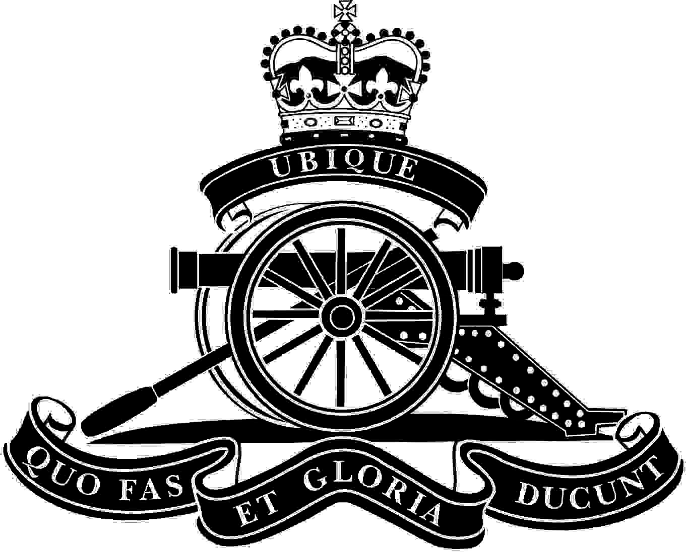 The badge of the badge of the Royal Artillery. Please note