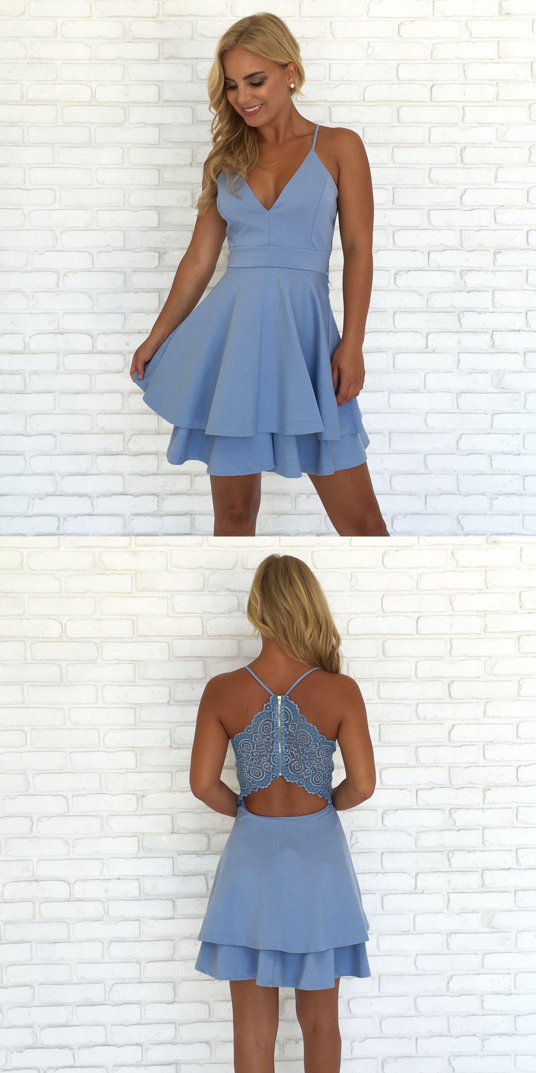 203d3a8beb47e blue short homecoming dress prom dress, straps short blue chiffon homecoming  dress with lace, party dress dancing dress