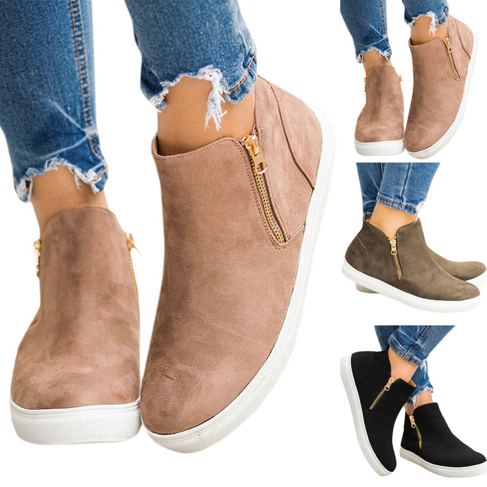 Ladies Sneakers Women Zip Ankle Boots