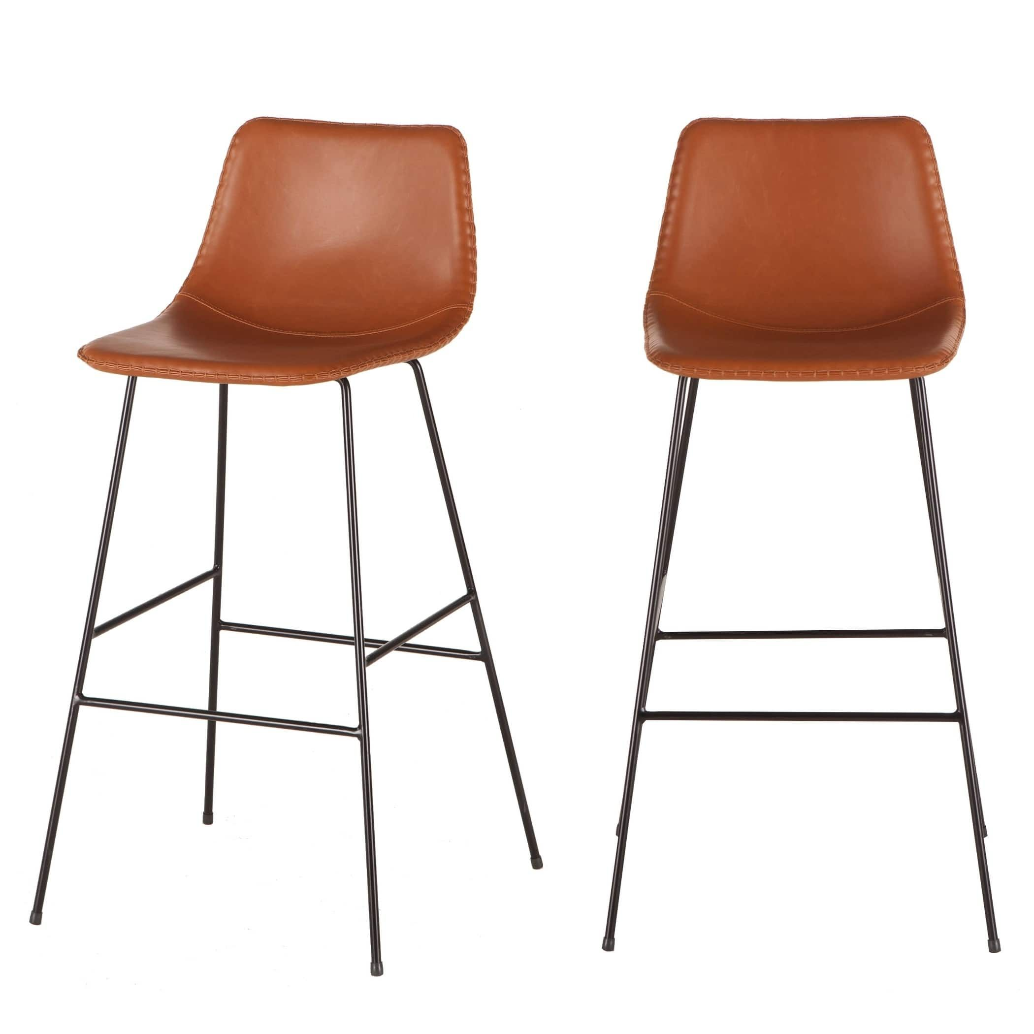 Awesome Tan Faux Leather Barstool With Black Metal Legs By World Inzonedesignstudio Interior Chair Design Inzonedesignstudiocom