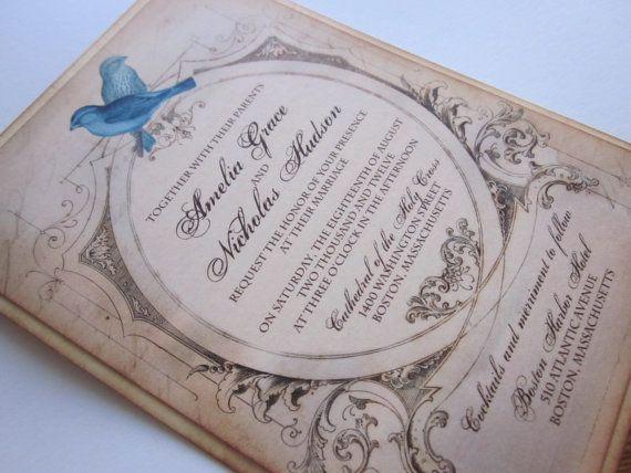 Love Birds Vintage Wedding Invitation Rsvp Sample By