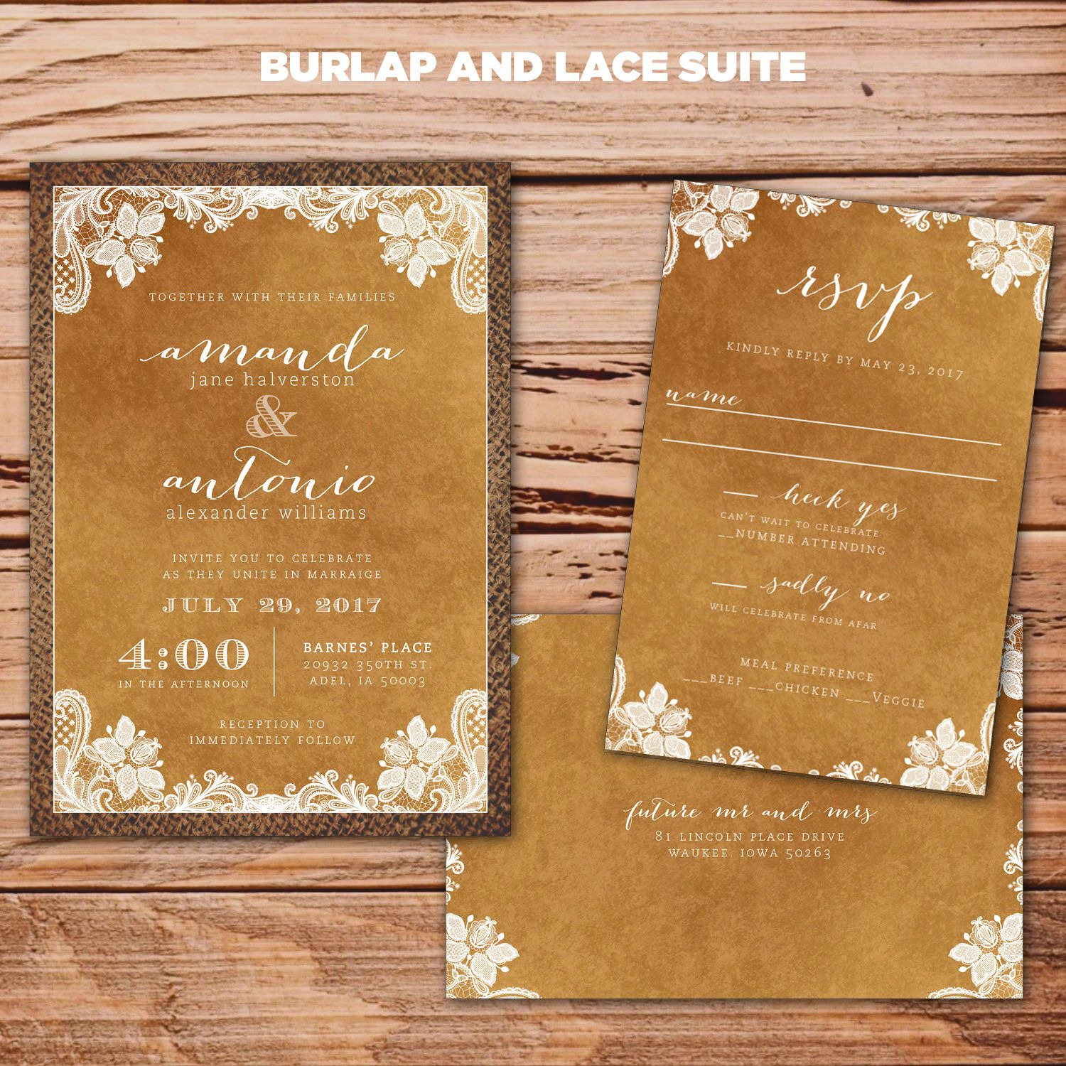 Burlap and Lace Wedding invitations DIY printable rustic