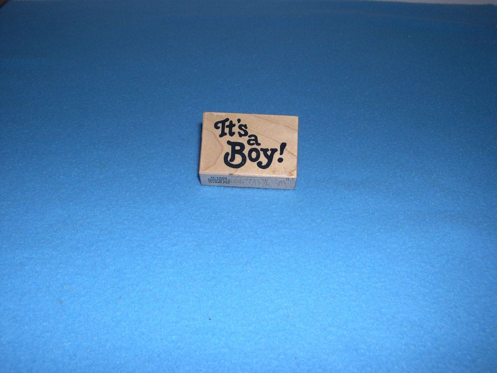 """PSX  """"IT'S A BOY!""""   Rubber Stamp  Wood Mounted D1996  -2 """" by 1 1/2""""  1996 #PSX #WoodRubber"""