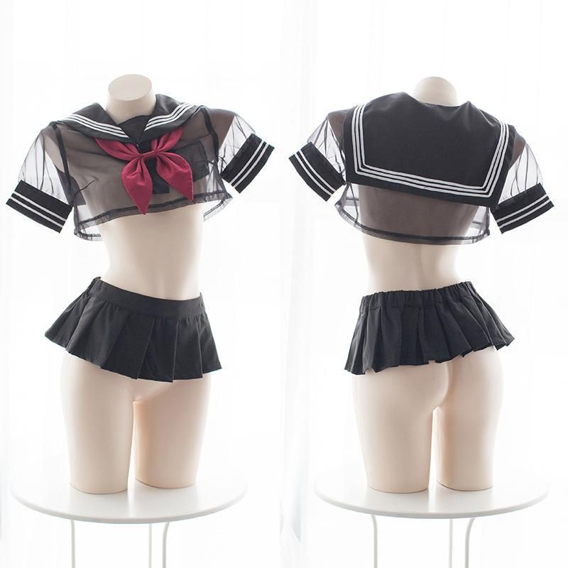 Japanese Student Uniform Dress Cute Anime Lingerie Set Mesh Cosplay Underwear