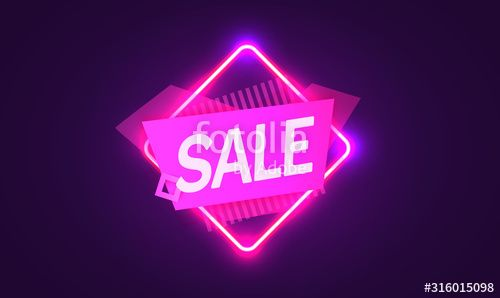 Neon sign the word Sale on dark background Discount Background for your design greeting card banner