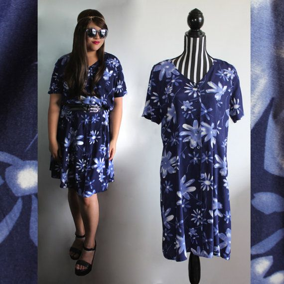 90s blue floral shirt dress // size XXL // free shipping in Australia